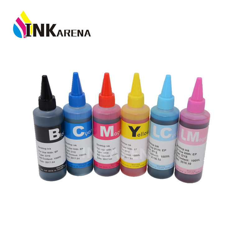 600ml T0821 DYE <font><b>INK</b></font> For T0821N 82N For <font><b>Epson</b></font> T0821 Printer Cartridge Work for <font><b>Epson</b></font> Stylus <font><b>R270</b></font> R390 RX590 TX700W TX800W T50 image