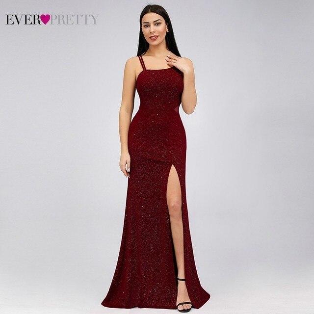 Elegant Burgundy Mermaid Prom Dresses 2020 Ever Pretty Spaghetti Straps Sleeveless Split Sexy Women Party Dresses Gala Jurken 3