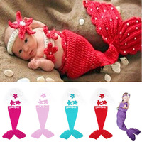 New Beauty Mermaid Suits Wool Handmade Crochet Photography Sweater Newborn Baby Cap High Quality