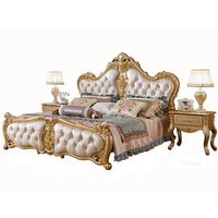 Golden white ProCARE modern Antique Italy style king size solid wood bedroom furniture leather wall bed