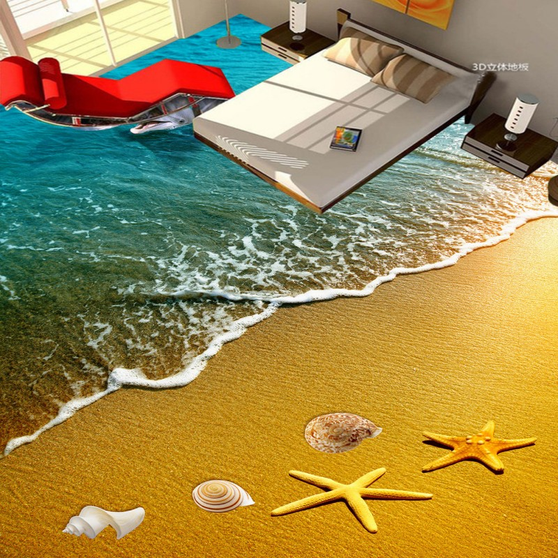 beibehang beach starfish dolphin 3D floor painted bathroom kitchen balcony PVC wallpaper from the floor mural 3D wall stickers starfish beach style pillow case