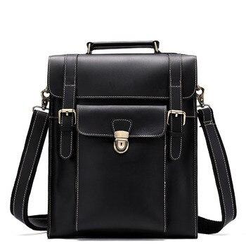 960ef217f32 Hombres Vintage broche mochila Inglaterra estilo Retro de moda de cuero de  Caballo Loco mochilas para hombre de la Universidad de la escuela bolsas de  ...