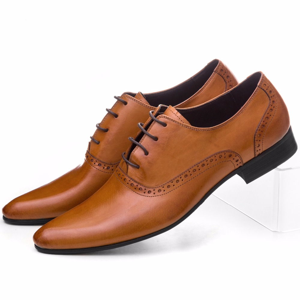 Large Size EUR45 Brown Tan / Black / Brown Prom Shoes Mens Oxfords Genuine Leather Business Shoes Male Wedding Dress Shoes