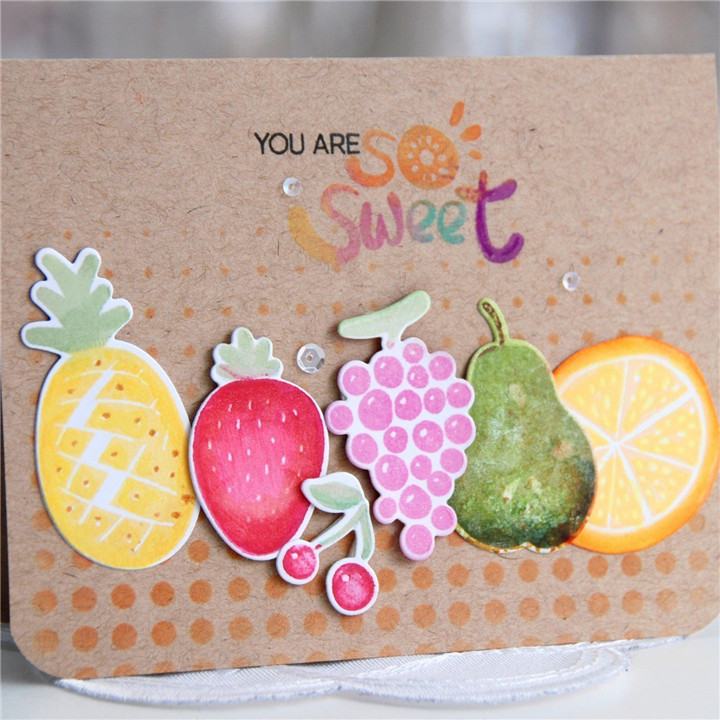 Naifumodo Fruit Metal Cutting Dies and Clear Stamps Watermelon Pineapple Grapes Scrapbooking Card Making Embossing Craft Stencil in Cutting Dies from Home Garden