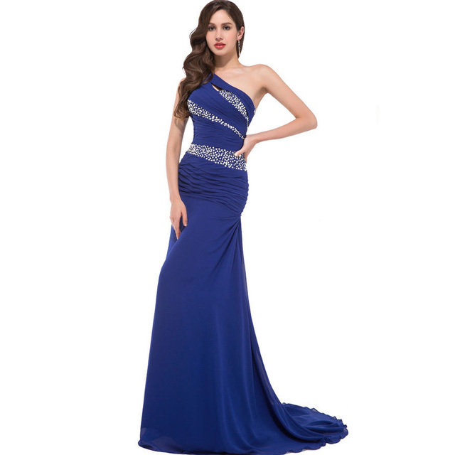 Royal Blue Yellow Purple One Shoulder Evening Dresses Long Mermaid Chiffon  Luxury Crystal Evening Dress Prom 3b7b1caeedcd