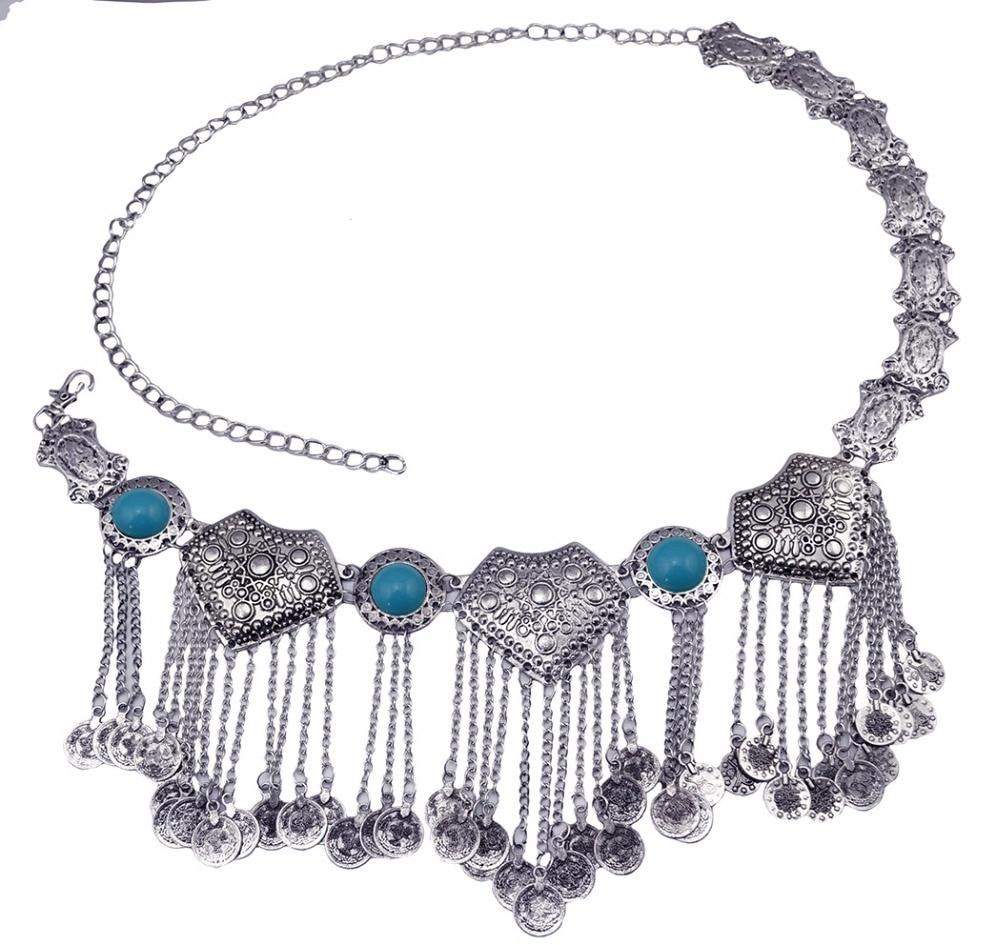 Image 5 - Цыганское серебряное металлическое платье с цветком в стиле бохо, турецкое богемное платье с ремнем для танца живота, поясная цепь с монетками, сексуальное индийское украшение для телаУкрашения для тела   -