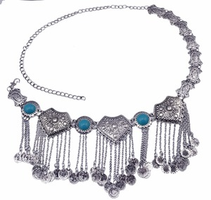 Image 5 - Gypsy Metal Hippie Boho Flower Turkish Bohemian Shimmy Dress Belt Belly Dance Waist Chain Coins Sexy Body Turkish Indian Jewelry