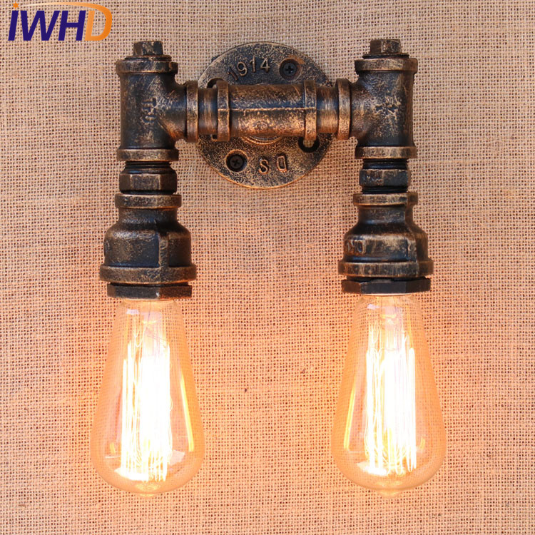 IWHD Retro Loft Style Industrial Water Pipe Lamp Iron Vintage Wall Light For Home Bedside Edison Wall Sconce Indoor Lighting nordic loft style industrial water pipe lamp vintage wall light for home antique bedside edison wall sconce indoor lighting