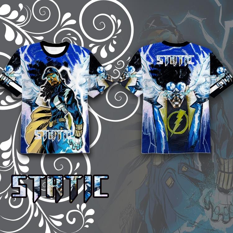 Wellcomics DC Teen Titans Static Virgil Hawkins Symbol T-shirt Full Printed Tee Tops Short Sleeve Summer Cosplay Costume Unisex