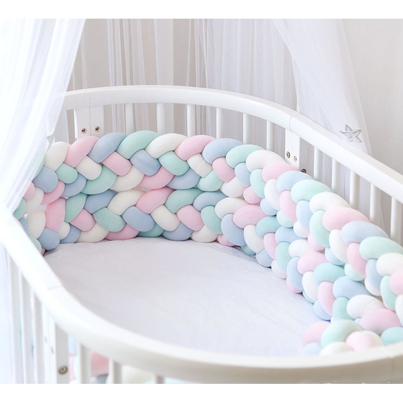 2.2M Length Baby Bed Bumper 4 Braids Baby Bed Decor Pure Weaving Plush Knot Crib Bumper Protector Infant Room Decor