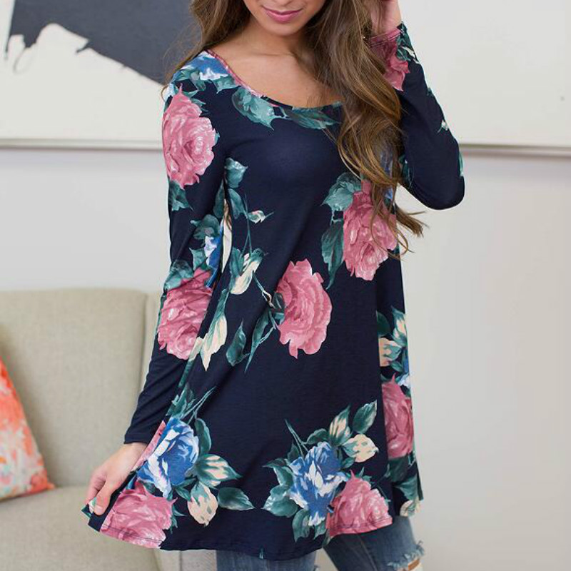 Autumn Women Flower Long Sleeve O neck Casual Loose Blouse Floral Printed Blouses 2017 Shirts Femme Sexy Blusas Plus Size GV966 in Blouses amp Shirts from Women 39 s Clothing