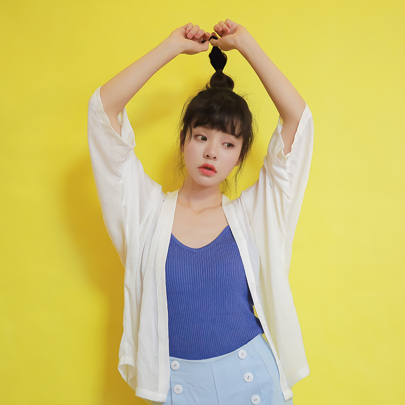 New Summer Women Shirts Thin + Sunscreen Clothes Kimono With A Short Open Small Shawl Blouse Shirt White 826