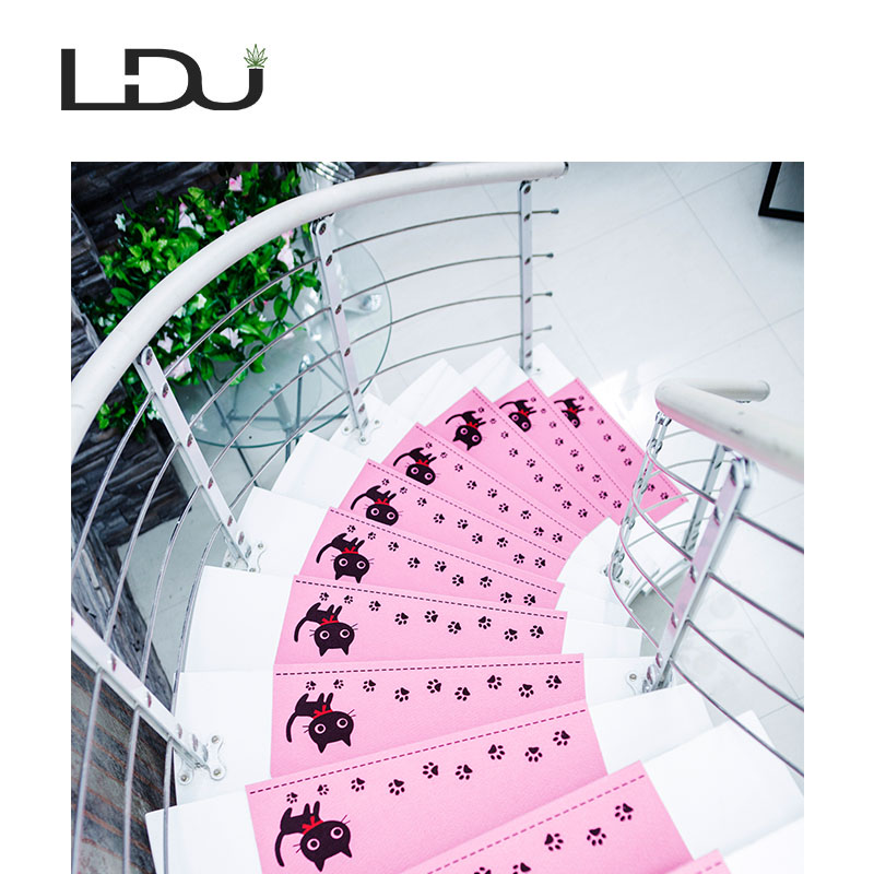 RULDGEE Cat Pattern Self-adhesive Non-slip Home Stair Polyester PVC Cat Carpet for Living Room Stair Mat Protector Rug