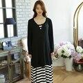 Atractiva del verano de maternidad vestidos ropa Casual negro embarazo vestido de tirantes vestimenta embarazada Premama 2 unids ropa vestido de otoño