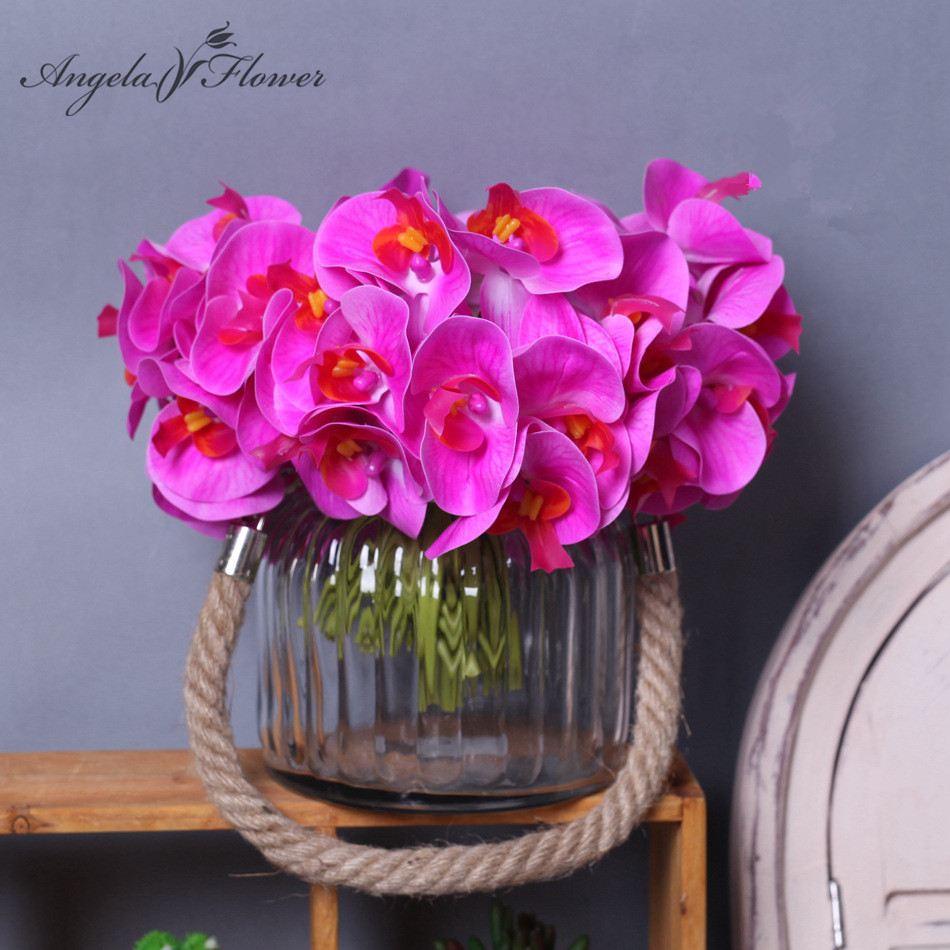 Compare prices on orchids silk flowers artificial online shopping real touch orchid artificial silk flower for wedding bride bouquet home table decoration hight quality 12pcs dhlflorist Gallery