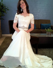 New Elegant Style Mermaid Wedding Dress Short Sleeve Square Neck Lace Chiffon Bridal Gowns Vestido de Noiva Custom Made