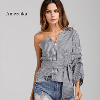 Layer Ruffle One Shoulder Plaid Blouse Shirt Women Irregular Casual Blouse Blusas Female Sexy Bow Tie