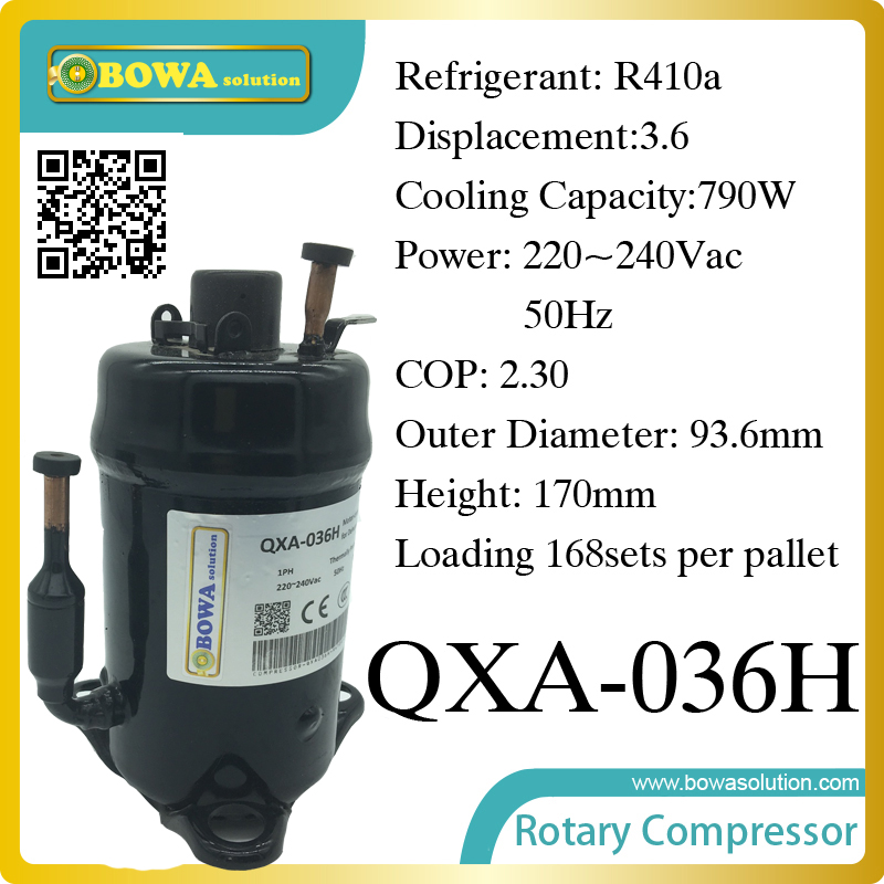 R410a compressor (790W cooling capacity) suitable for 500L refrigeration cabinet and beverage cooler 690w cooling capacity coolant compressor r134a suitable for single door commerce stainless steel display and freezer