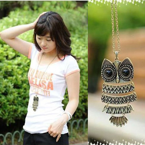 product Fashion Korea Adorn Article Vintage Long Colar Coruja Sweater Owl Pendant Necklaces Bronze and Silver Color D15R1C
