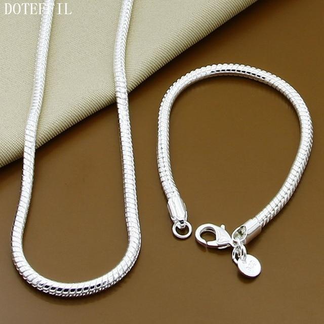 925 Sterling Silver Snake Chain Bracelet Necklace For Women Men Brand Bracelet Necklace Style Charms