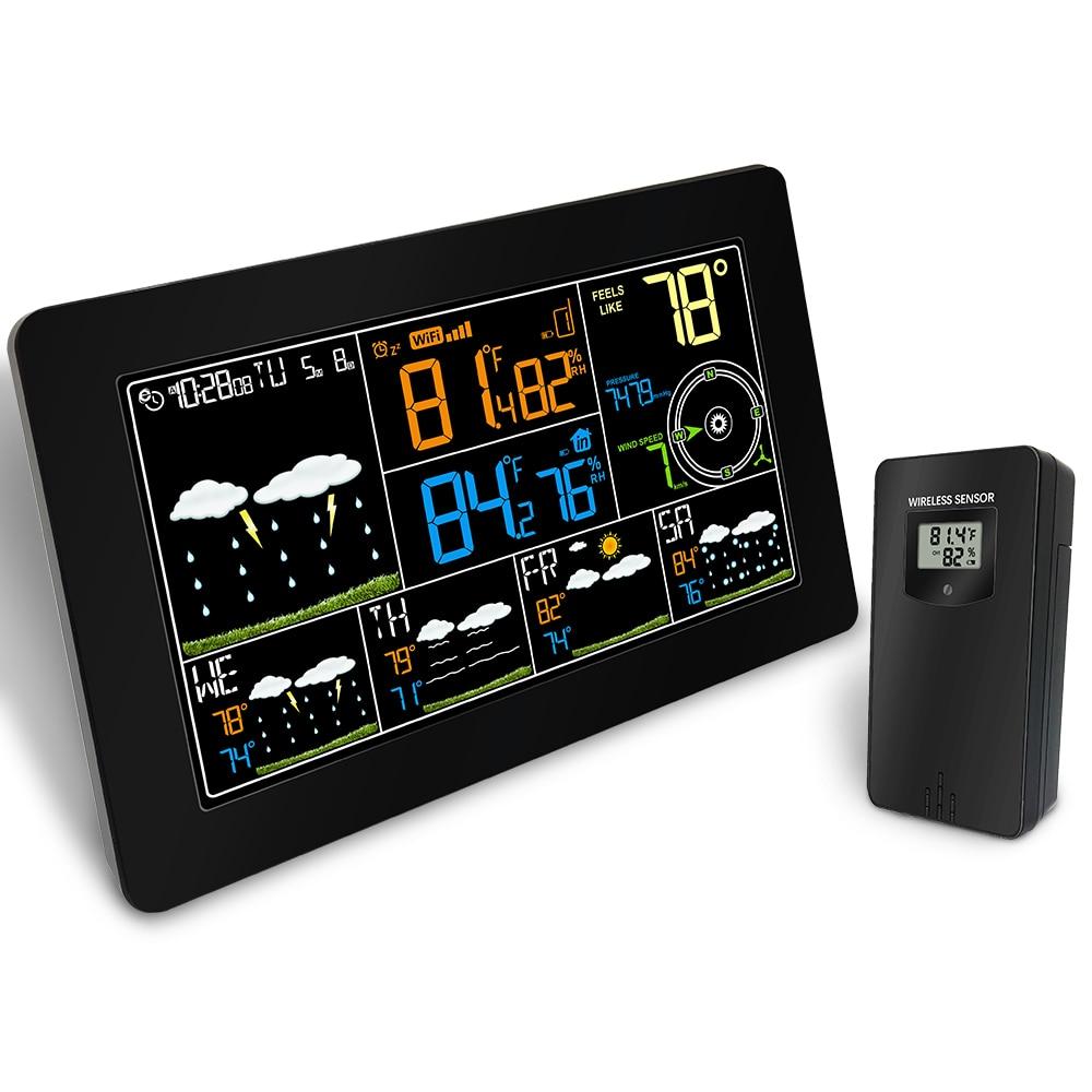 Couleur écran wifi Sans Fil Station Météo avec Alarme Horloge Thermomètre Hygromètre Intérieur Extérieur Température 4 jours affichage