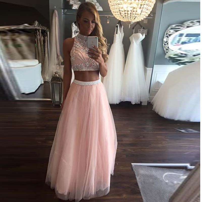 Yinyyinhs Pink Two Piece   Prom     Dresses   2017 Long Beaded Girls Sparkly Tulle Graduation Party   Dress   High Neck Evening Gown CGO31