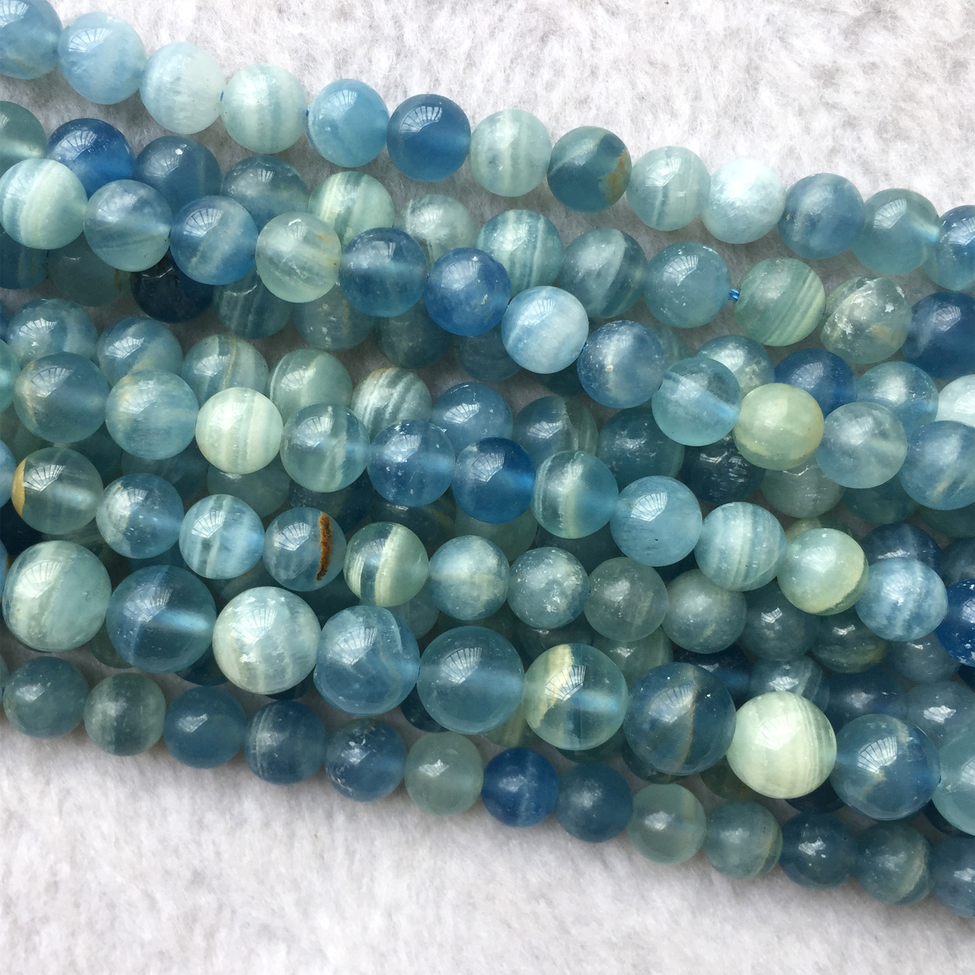 """Natural Genuine Blue Calcite Calcspar Round Jewellery Loose Necklaces or Bracelets Beads 15"""" 06076"""
