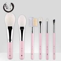 Handmade Makeup Brushes Set 6pcs Soft Goat Hair Make Up Face Powder Blush Eye Shadow Brush