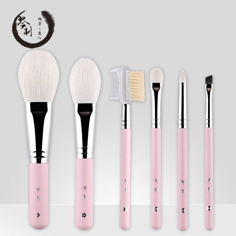 Main Maquillage Pinceaux 6 pièces Souple De Chèvre Cheveux maquillage Poudre Pour Le Visage Blush pinceau pour les yeux Rose Poignée accessoires cosmétiques
