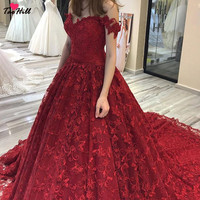 TaoHill 2019 New Off the Shoulder Red Lace Wedding Dresses Sweetheart NEck A Line Bride Dress Princess Wedding Gown
