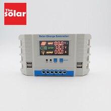 Led ディスプレイ 10A 20A 30A 40A 50A 60A 12 V 24 V 自動ソーラーパネルバッテリー充電コントローラ、 Pwm ソーラーコレクターレギュレータ USB 2