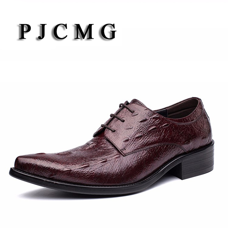 PJCMG New Black/Red Mens Oxfords Crocodile Pattern Lace-Up Pointed Toe Genuine Leather Business Formal Men Wedding Office Shoes mens genuine leather pointed toe buckle leather shoes crocodile print oxfords business man wedding shoes formal dress shoes
