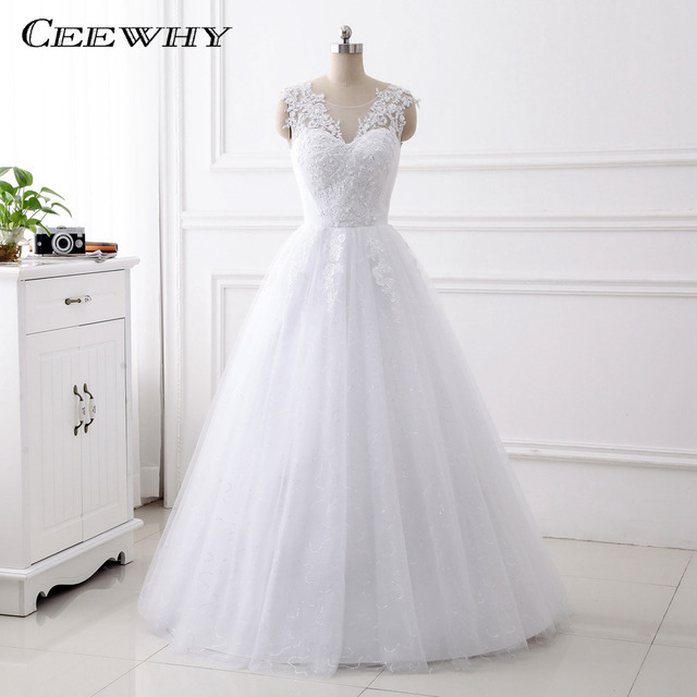 CEEWHY New Design A Line Lace Wedding Dress 2017 O Neck Embroidery ...