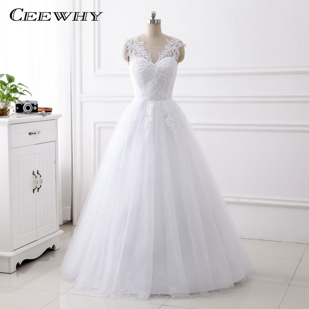 CEEWHY New Design A Line Lace Wedding Dress 2017 O Neck Embroidery Beaded Koran Style Wedding Gowns China Online Shop Trouwjurk