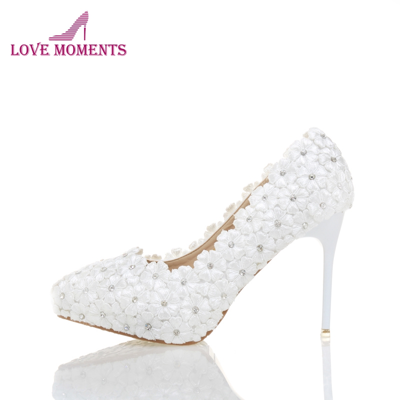 White Lace Flower Wedding Shoes Pointed Toe Bridesmaid Shoes Girl Birthday Party Prom Shoes Bride Banquet Pumps 4 Inches
