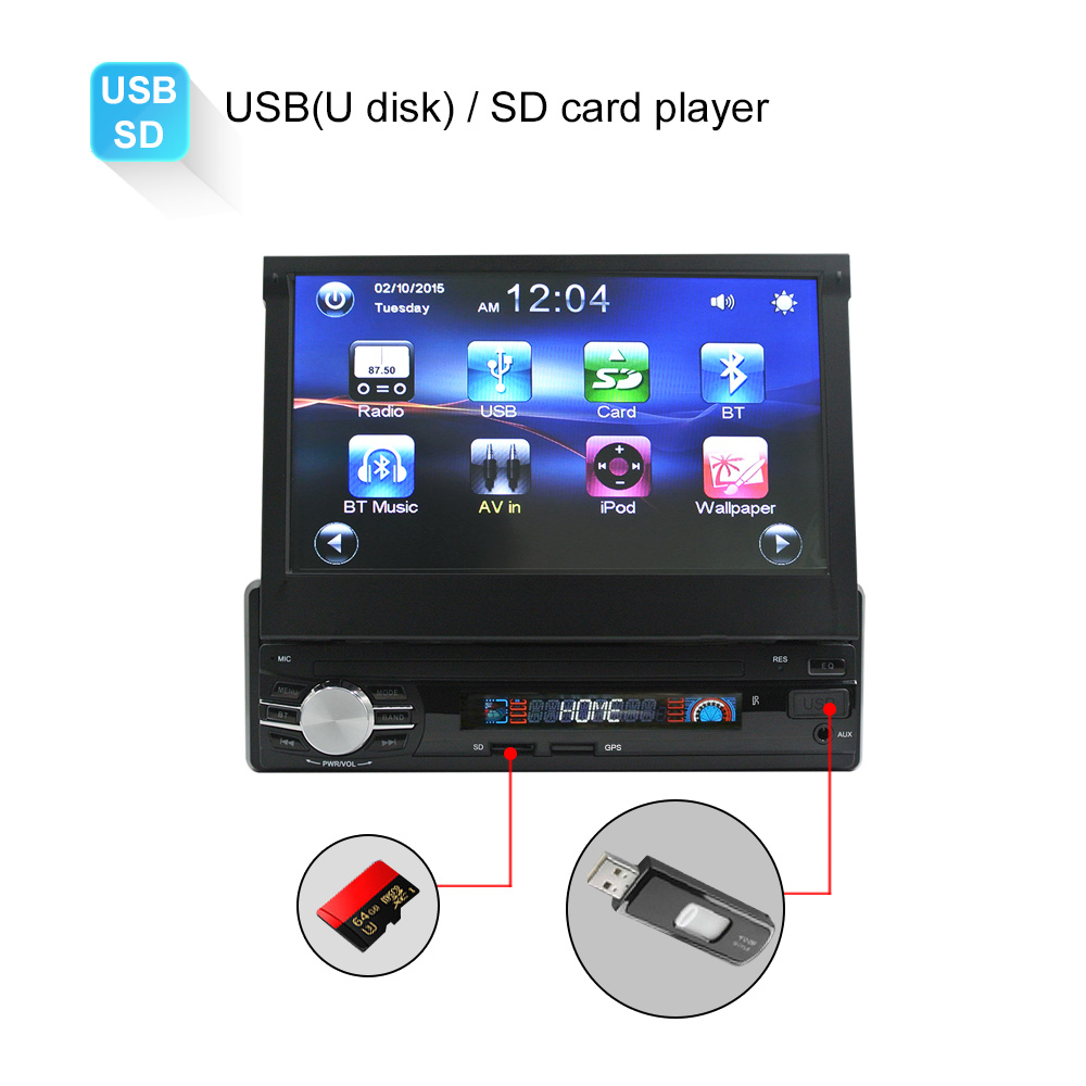 Car GPS Navigation Radio Stereo Universal 7 inch slip down Touch 1DIN FM Bluetooth MP3 MP4 Mp5 Remote Control Audio Player 0013G 7021g 2 din car multimedia player with gps navigation 7 hd bluetooth stereo radio fm mp3 mp5 usb touch screen auto electronics