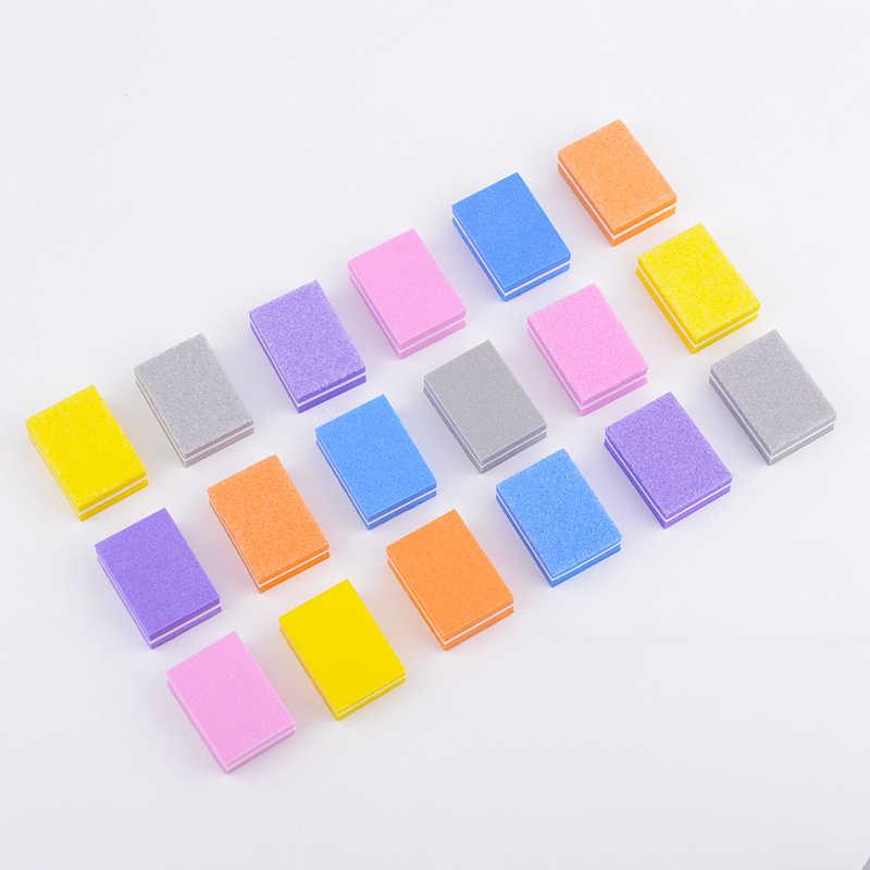 20 ชิ้น/ล็อต Double-sided Mini เล็บแฟ้มสีสันฟองน้ำเล็บขัดบัฟเฟอร์แผ่นขัดเล็บเครื่องมือทำเล็บมือ