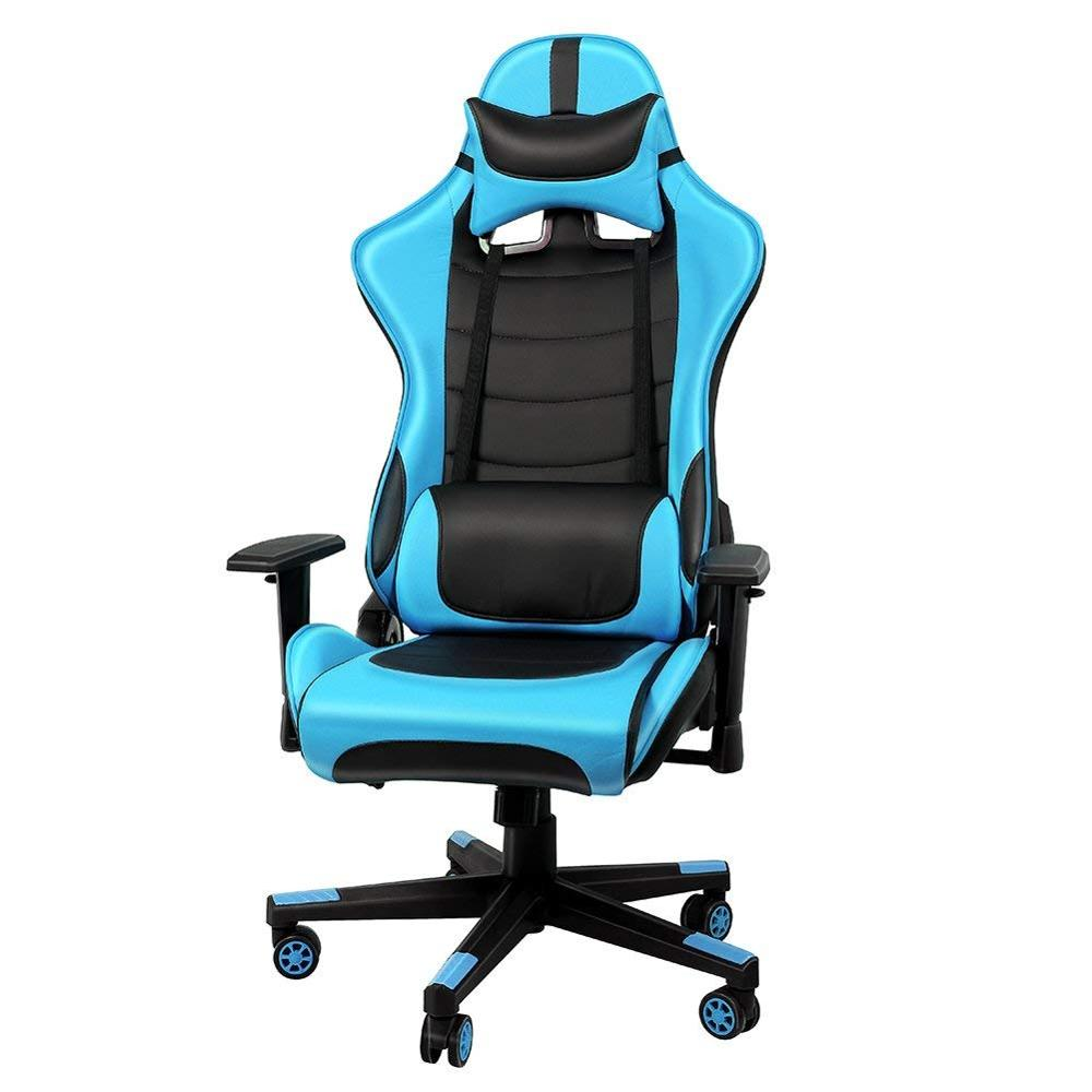 Racing Chair Office Executive Computer Chair With Adjustable Height And The Backrest Tilted  Head Pillow Movable Lumbar Cushion