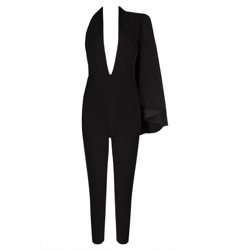 Crayon Yd Cou Nu Dames Patchwork ever V Mode Sexy Manches Sans Nouveau Black Dos Haute 2018 Speing Pantalon À Combinaisons Taille Long Zzrzwqt0