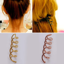 Golden/Rose Gold Women Hairpin Plate Dispenser Spiral Aolly Plated Hairdressing Tool Hair Jewelry(China)