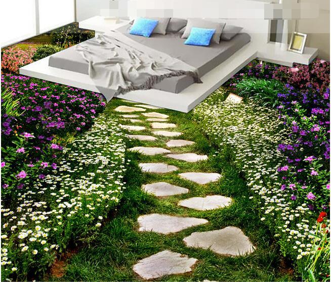 3 d pvc flooring custom  wall paper 3d bathroom bedroom flooring creative flowers path mural wallpaperfor walls 3d