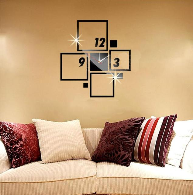 Square Rectangle Figure Number Wall Clock Mirror Modern Removable ...