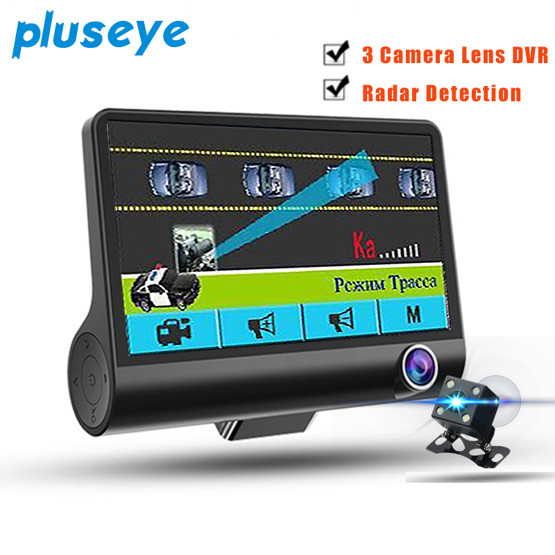 Pluseye 2 in 1 Car DVR Anti radar Detector 3 lens 4.0 inch screen HD 1080P Night vision dash cam free shipping