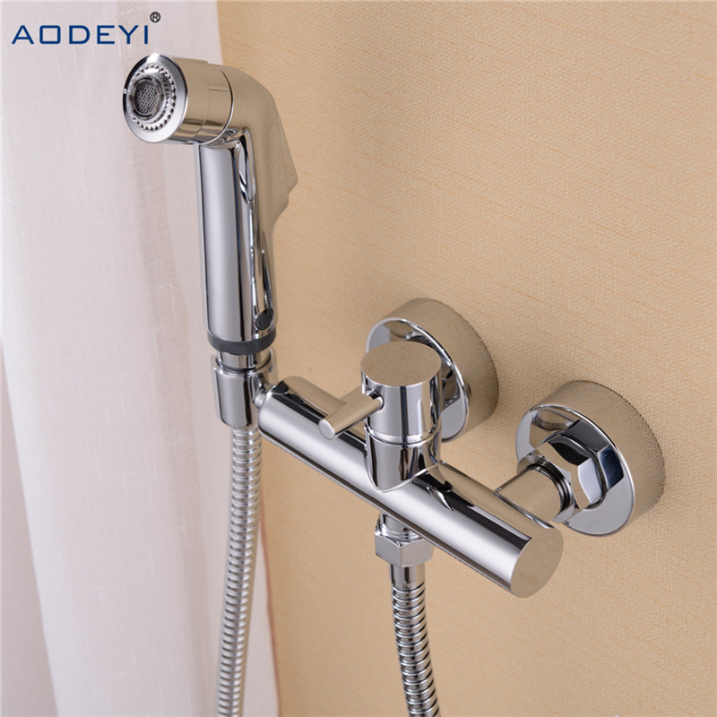 Free Shipping Solid Brass Chrome Handheld Bidet Toilet Portable Bidet Shower Set With Hot and Cold