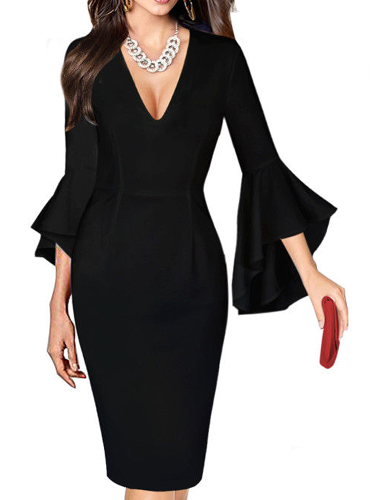 HEE GRAND 2019 Work Business Dress Womens Sexy Deep V-neck Flare Bell Long Sleeves Casual Party Dress Office Lady WQL5741