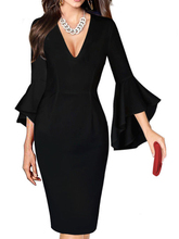 HEE GRAND 2019 Work Business Dress Womens Sexy Deep V-neck Flare Bell Long Sleeves Casual Party Dress Office Lady WQL5741 блок питания bequiet straight power 10 700w v2 4 a pfc 80 plus gold fan 13 5 cm modular retail