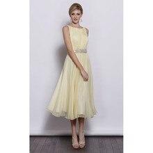 Mode cahaya kuning Bridesmaid Dresses 2016 simple boat neck sebuah line chiffon  wedding guest gaun wanita formal partai bc7667d1abe5