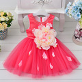 Free Shipping Retail Girl Dresses Children Party  Summer Princess Girl Dresses Wedding Dress Big Flower Cotton Inner 5 Colors
