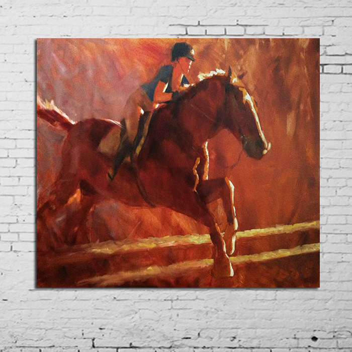 Freeshipping 100%Handpainted Oil Paintings Wall Pictures Oil Painting on Canvas Girl Riding A Horse Wall Art Home Decoration
