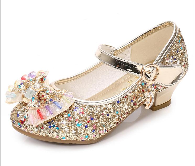 7 Colors Children Princess Sandals Kids Girls Wedding Shoes High Heels Dress Shoes Bowtie Gold Shoes For Girls